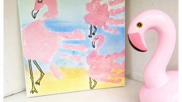 kinderen schilderij flamingo knutselen