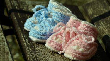 babyschoentjes blauw roze