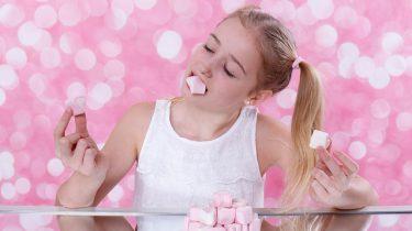 meisje snoep roze spekjes