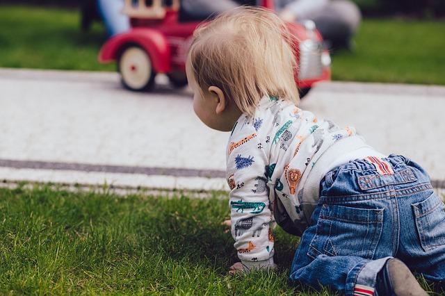 kindje kruipt over het gras