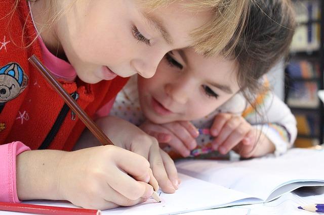 schoolkinderen leren samen