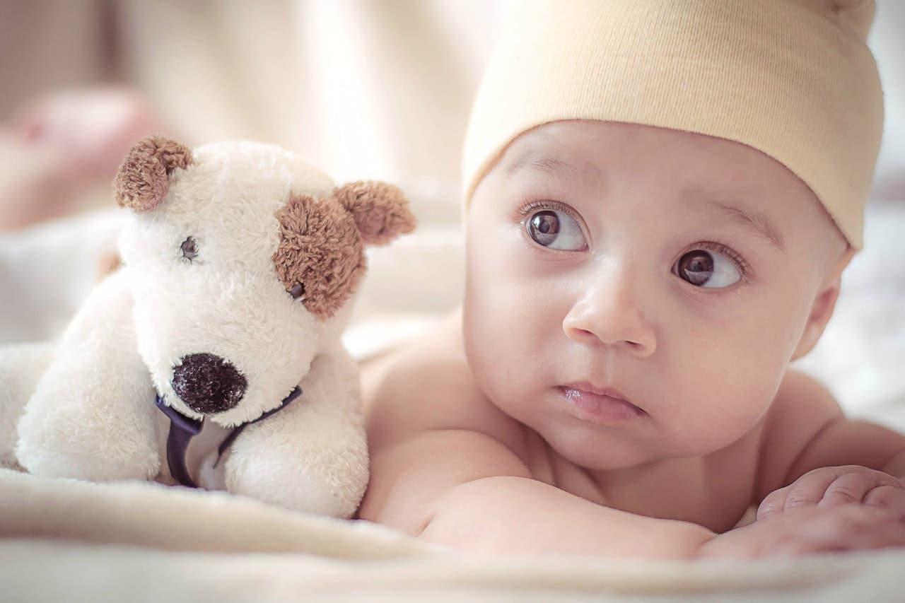baby met knuffelhond