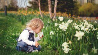 kind ruikt aan bloem