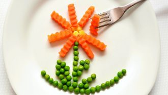 bord met erwtjes en worteltjes