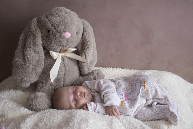 slapende baby met knuffel