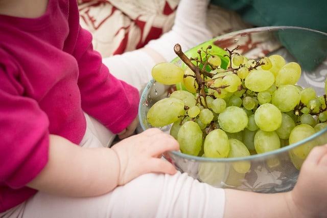baby met schaal druiven