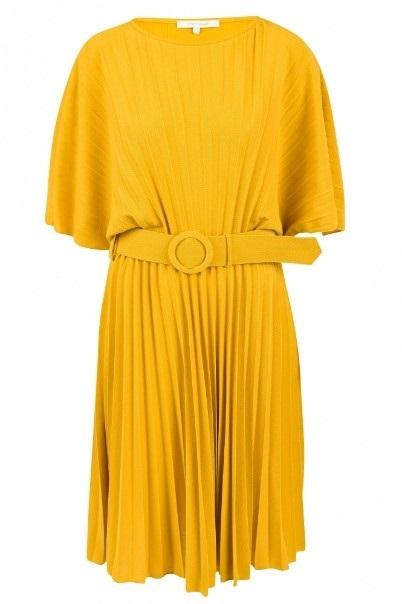 Gele midi jurk met bijpassende riem