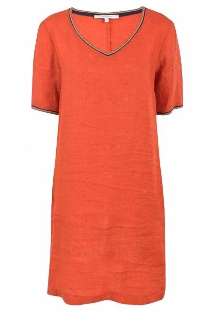 Linnen jurk met V-hals