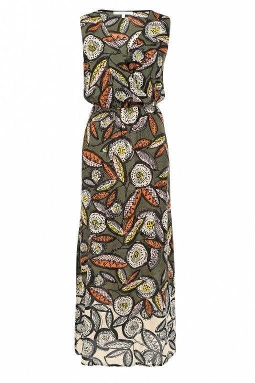 Mouwloze lange jurk met V-hals