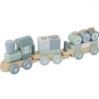 Little Dutch Speelgoed Houten Trein Met Blokken - Mint