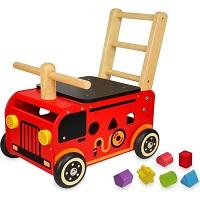 I'm ToyHouten loopwagen brandweer met blokken